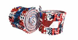 2.5 inch American Patriotic Jelly Roll 100% cotton fabric qu