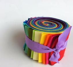 2.5 inch Rainbow Jelly Roll 100% cotton fabric quilting stri