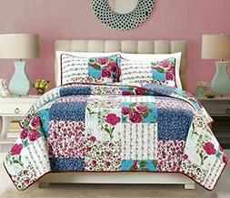 Grand Linen 2-Piece Fine Printed Country Rose Oversize  Quil