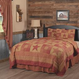 2pc NINEPATCH STAR TWIN Quilt Set Rustic Burgundy Red Plaid