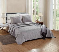 3 Pc CAL KING Size Aria Quilt Set Solid Grey/Gray Bedspread