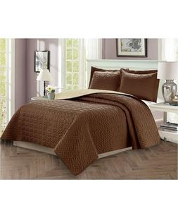 3 piece bedspread coverlet quilted set luxury
