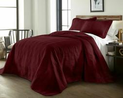 Chezmoi Collection 3-Piece Burgundy Oversized Quilted Bedspr