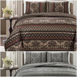 Chezmoi Collection 3-Piece Floral Stripe Motif Quilted Bedsp
