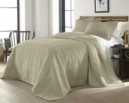 Chezmoi Collection 3-Piece Khaki Oversized Quilted Bedspread