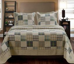 Greenland Home 3-Piece Oxford Quilt Set, Full/Queen, Multico