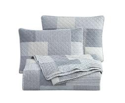 Chezmoi Collection 3-Piece Plaid Patchwork Quilted Bedspread
