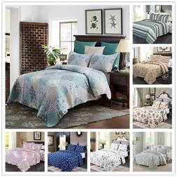 3-Piece Reversible Floral Printed Patchwork Bedspread/Quilt