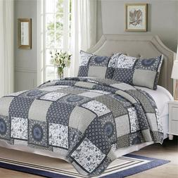 3 Pieces Microfiber Reversible Queen/King Quilt Set, Gray Bl