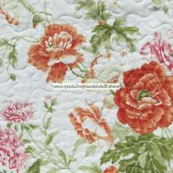LAURA ASHLEY 3pc KING QUILT ~ PINK ORANGE WHITE GREEN FLORAL