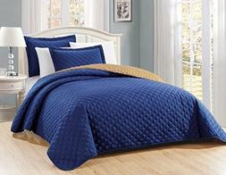 Fancy Linen 3pc Oversize Solid Navy Blue Diamond Quilted Bed
