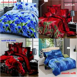 4Pcs Printed 3D Bedding Set Queen Size Quilt Cover Bed Sheet
