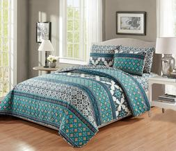 6 Piece Quilt Bedspread Set with Fitted Sheet Paisley Design