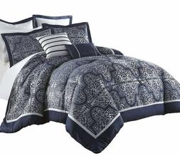 Chezmoi Collection 7-Piece Navy Jacquard Floral Comforter Be