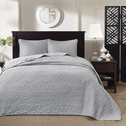 Madison Park Quebec King Size Quilt Bedding Set - Grey , Dam