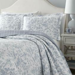 LAURA ASHLEY Amberley Spa Blue Floral Toile Full/Queen Cotto