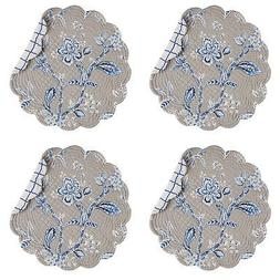 Annabelle Blue 17 x 17 Inch Cotton Round Quilted Placemat Se
