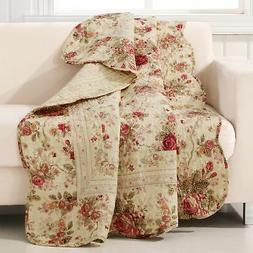 Greenland Home Antique Rose Quilted Patchwork Throw, New, Fr