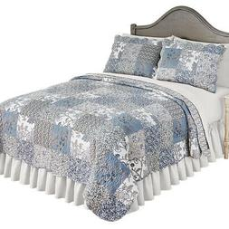 Beautiful Reversible Alice Floral Patchwork Quilt Bedding wi