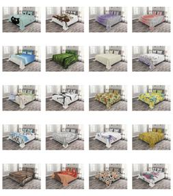 Ambesonne Bed Coverlet Set Quilted Pillow Shams with Decorat