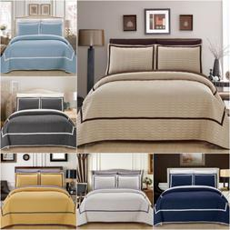 Chic Home Birmingham 3 Piece Quilt Cover Set Two Tone Hotel