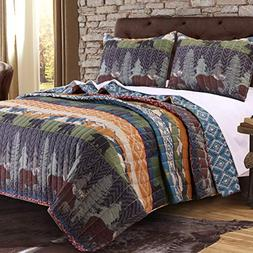Greenland Home Black Bear Lodge Quilt Set, 3-Piece Full/Quee