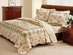 Greenland Home Fashions Bliss - 2 Piece Quilt Set - Ivory