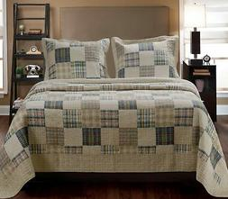 Brand New Greenland Home 3-Piece Oxford Quilt Set, Full/Quee
