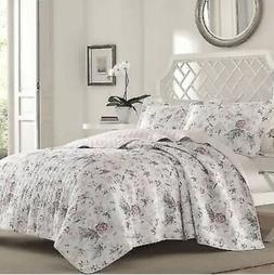 Laura Ashley Breezy Floral Pink Quilt Set, Twin, Pink/Gray