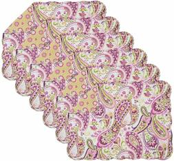 C&F Home Ariana Rectangular Cotton Quilted  6 Placemats Purp