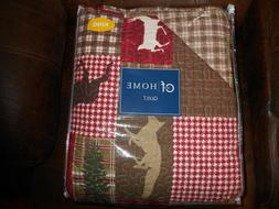 C&F Home Patchwork Cabin Reversible King Size Quilt Deer Fis