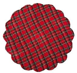 C&F Home - Red Plaid Round Quilted Placemat Single