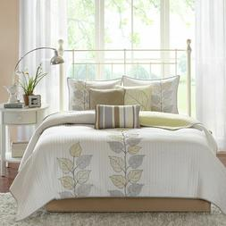 Madison Park Caelie 6-Pc Leaf Nature Quilted Coverlet Set -