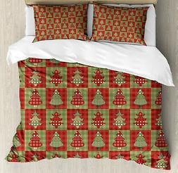 Christmas Duvet Cover Set with Pillow Shams Noel Trees Quilt