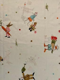 IKEA Cotton Fabric Quilting Weight Girl Bunny Cow Frog Duck