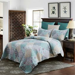 Country Patchwork Style Charming Floral Quilt Set Quilt + 2