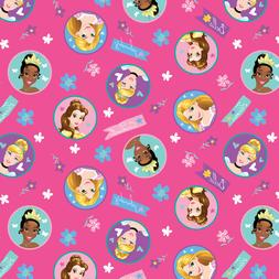 Disney Princess Badges Fuchsia 100% Cotton Fabric by the Yar