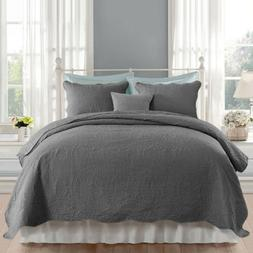 Embossed Quilted Bedspread Coverlet Quilt Set with Pillow Sh