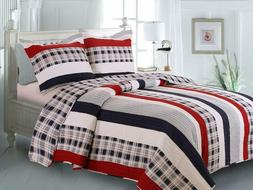 Greenland Home Fashions Nautical Stripes Quilt Set, Full/Que