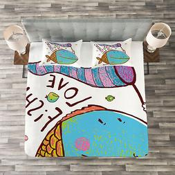 Fish Quilted Bedspread & Pillow Shams Set, For Kids Funny Ca