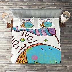 Fish Quilted Coverlet & Pillow Shams Set, For Kids Funny Car