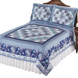 Floral Diamond and Stripes Patchwork Quilt to Instantly Add
