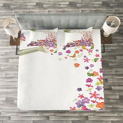 Floral Quilted Bedspread & Pillow Shams Set, Flowers Waterin