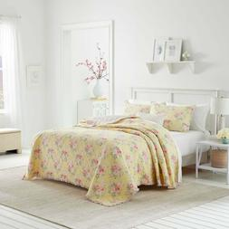 Laura Ashley Floral Yellow 100% Cotton,Quilt King With a Del