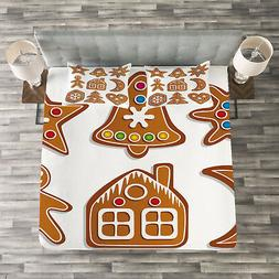 Gingerbread Man Quilted Bedspread & Pillow Shams Set, Sugar