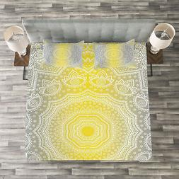 Grey and Yellow Quilted Bedspread & Pillow Shams Set, Boho O