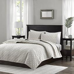 Harper Velvet 3 Piece Coverlet Set Ivory King/Cal King
