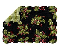 HOLLY and BERRIES ON BLACK Christmas Quilted Placemat by C&F