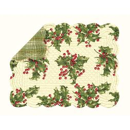 HOLLY and BERRIES ON CREAM Christmas Quilted Placemat by C&F