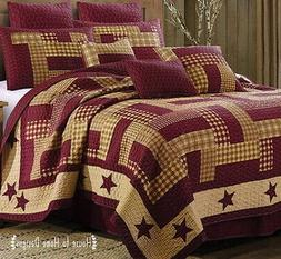 HOMESTEAD RED Full Queen QUILT SET : COUNTRY CABIN BURGUNDY